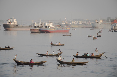 Taxi crossing Buriganga river