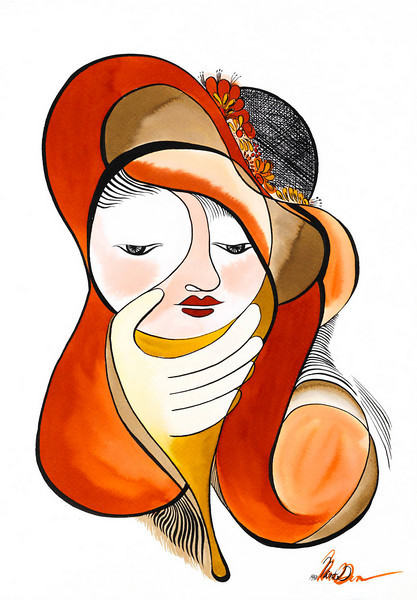 lady // 18x24 / watercolor<br /> original $400.00 / gicllee` $100.00