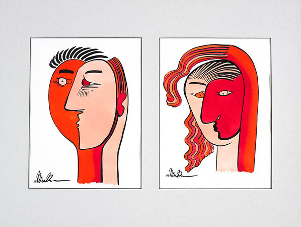 "faces // 18""x24"" / watercolor<br /> original $1000.00 / gicllee` $250.00"