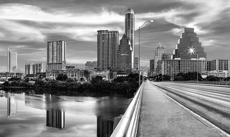 Austin Skyline in Black & White
