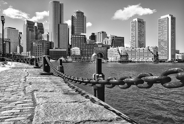 Boston Downtown Skyline from  Fan Pier Harborwalk