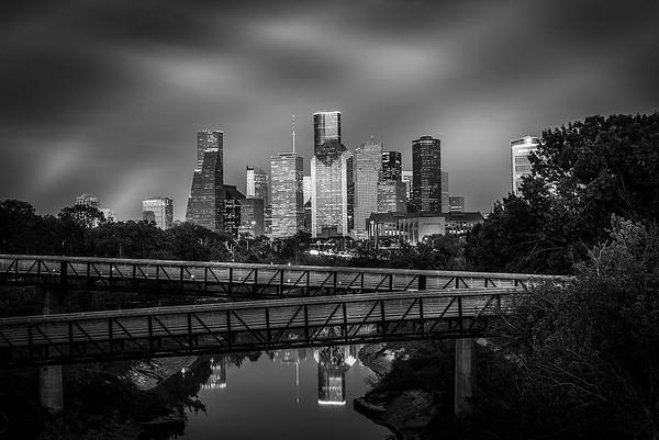 Houston Downtown view from Buffalo Bayou (Black & White)