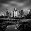 Houston Downtown view from Buffalo Bayou (Black & White)