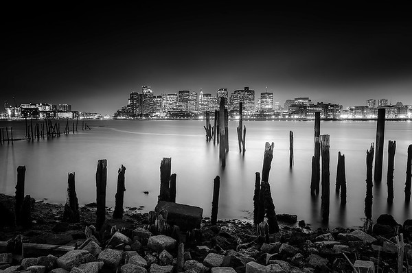 The Lost Pier of East Boston under Stormy Sky (Black & White)