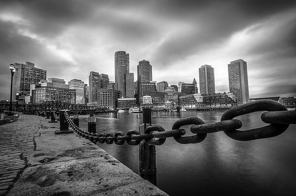 Boston Downtown Skyline from  Fan Pier Harborwalk (Long Exposure)