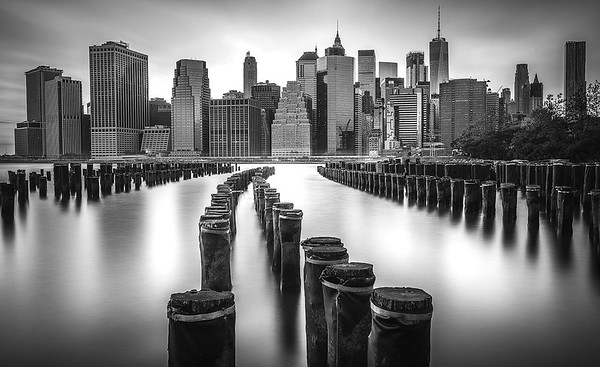 """The Pier One"" (Black & White) - Manhattan as-seen from Brooklyn Bridge Park, NYC"