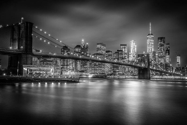 Brooklyn Bridge and Lower Manhattan Skyline from Brooklyn Bridge Park, NYC. (Black & White)