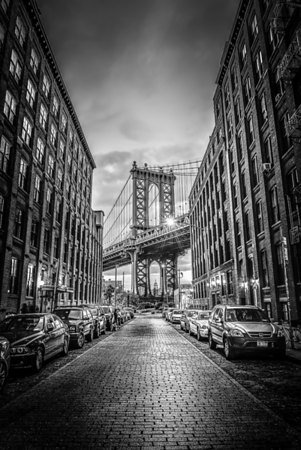 Empire state building view through Manhattan Bridge NYC (Black & White)