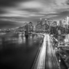 Manhattan Downtow from Manhattan Bridge and FDR Drive with Light Trails (Black and White)
