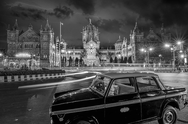 Mumbai Chhatrapati Shivaji Terminus (CST) a.k.a Victoria Terminus (VT) - Black & White (version)