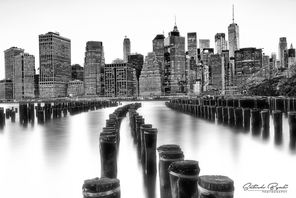 Manhattan from Brooklyn Bridge Park, NYC (Black White)
