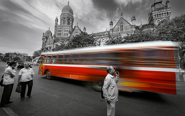 Municipal Corporation of Greater Mumbai with BEST bus in front - Selective Coloring