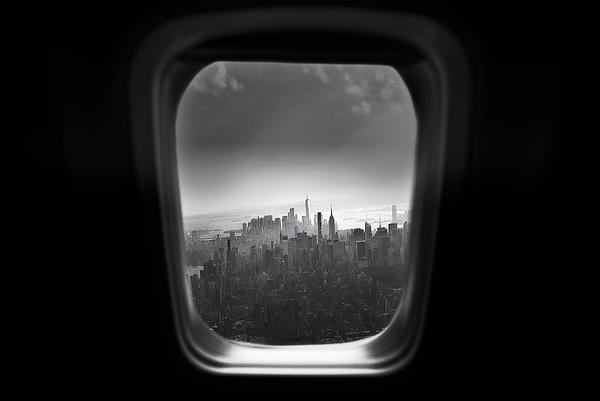 Through the plane window - Manhattan skyline, NYC