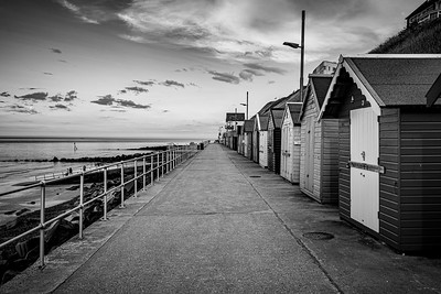 Sheringham Beach Huts Black and White