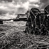 Lobster pots at Portsoy, Aberdeenshire, Scotland.