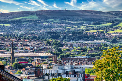 The view of Blackburn Town with Darwen Tower in the distance