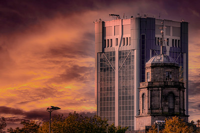 Sunset - Looking over Blackburn Town Hall & St John's Centre
