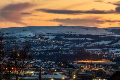 Looking towards Darwen Tower from top of Earl St, Blackburn at Sunset
