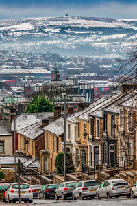 View of Blackburn Town with Snow Capped Darwen Moors