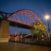 Pedestrian Bridge at Night with lights