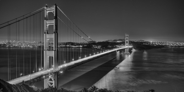 Golden Gate Second Night Pan B&W