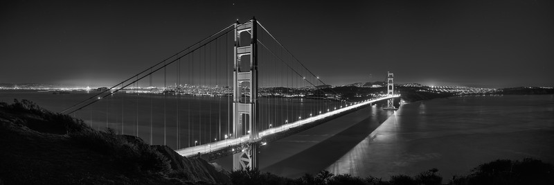 Golden Gate Second Night Panoramic B&W