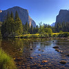 El Capitan & Cathedral Rocks reflected in Merced River