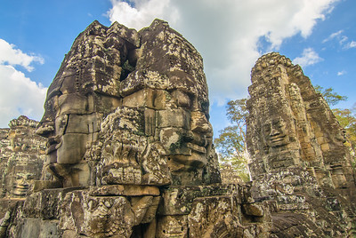 Bayon temple is known for its huge stone faces who will watch your every move