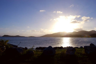 A view of Tortola as the sun begins its daily descent.  Beef Island, British Virgin Islands