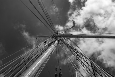 Looking up the rigging