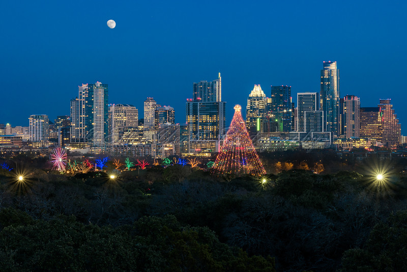 Zilker Christmas Tree with Moon