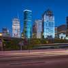 Houston downtown during blue hour from I-45 and Allen Parkway