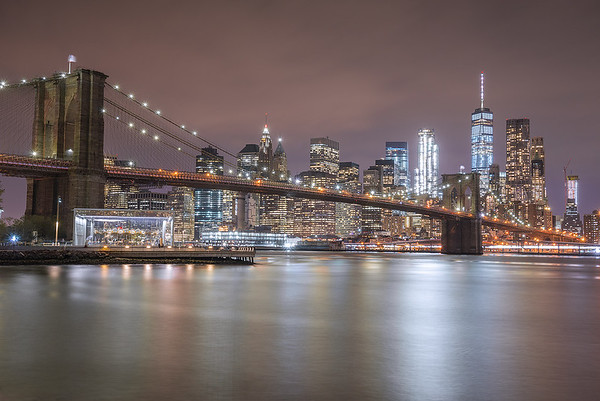 Brooklyn Bridge and Lower Manhattan Skyline from Brooklyn Bridge Park, NYC.