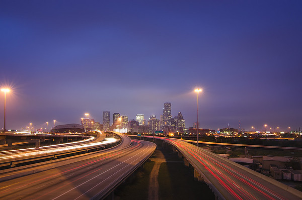 Houston downtown during twilight from US-59 and I-10