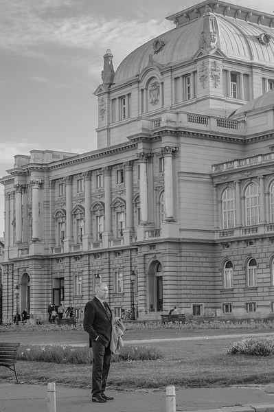 A man waits outside Croatian national theatre in Zagreb