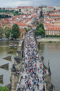 Charles Bridge (Karluv most) is a stone Gothic bridge that connects the Old Town and Lesser Town, Prague
