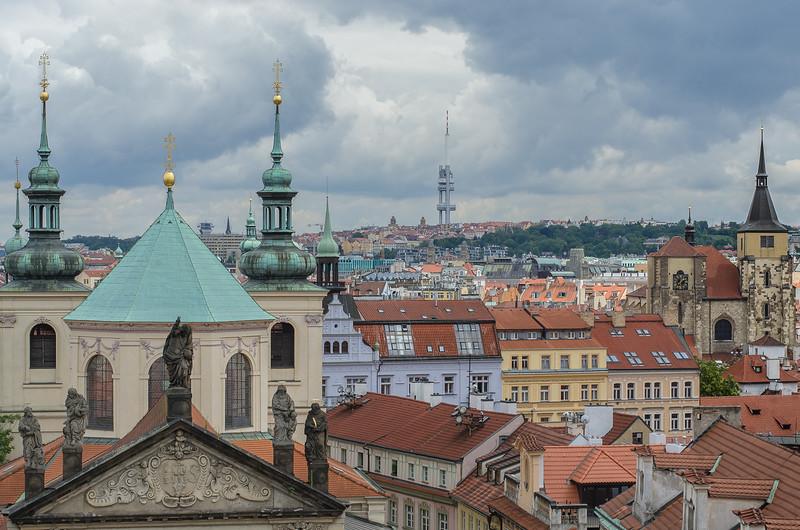Prague skyline view from the Old Town Bridge Tower, Prague