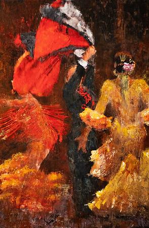 Three Flamenco Dancers 30X20 in