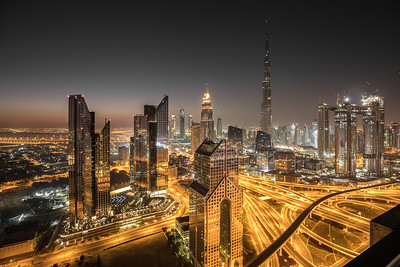 Night view of Dubai Downtown district.