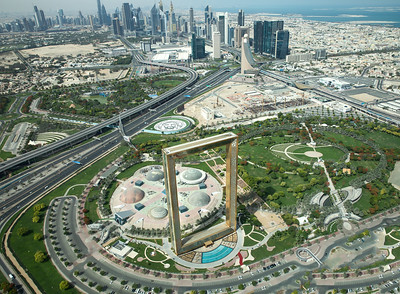 View of Dubai Frame in front of Dubai Downtown.