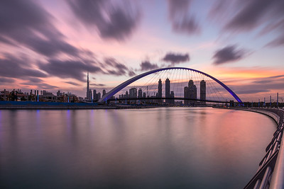 Long exposure of sunrise colors over Dubai Downtown.
