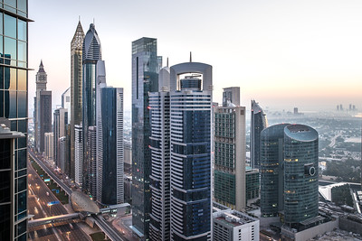 View of Dubai International Financial District at sunrise.