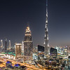 Sunset view of Dubai Downtown district.