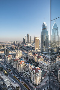 Daytime view of skyscrapers in Dubai Downtown district.