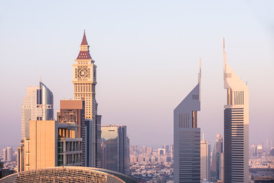 Dubai DIFC district during sunset.