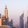 Dubai DIFC district during sunset.