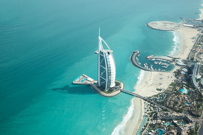 Aerial view of Burj Al Arab on a beautiful sunny day.