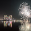 Celebration of UAE National Day with fireworks over the Festival City district.