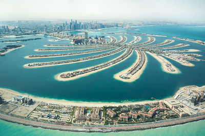Aerial view of Palm Jumeirah man made island.