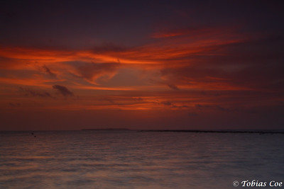 Sunset over Glover's Atoll, Belize